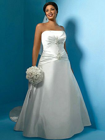 Plus Size Princess Satin Wedding Gown is strapless, has an ...
