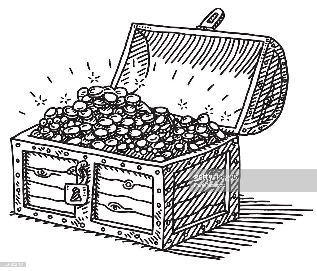 Hand Drawn Vector Drawing Of A Treasure Chest With Many