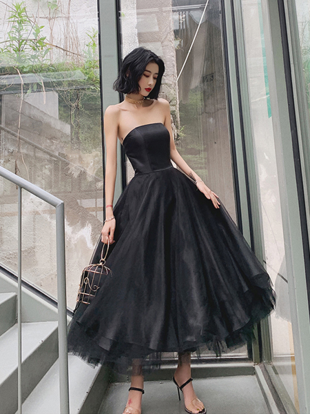 Black Elegant Strapless Evening Dress