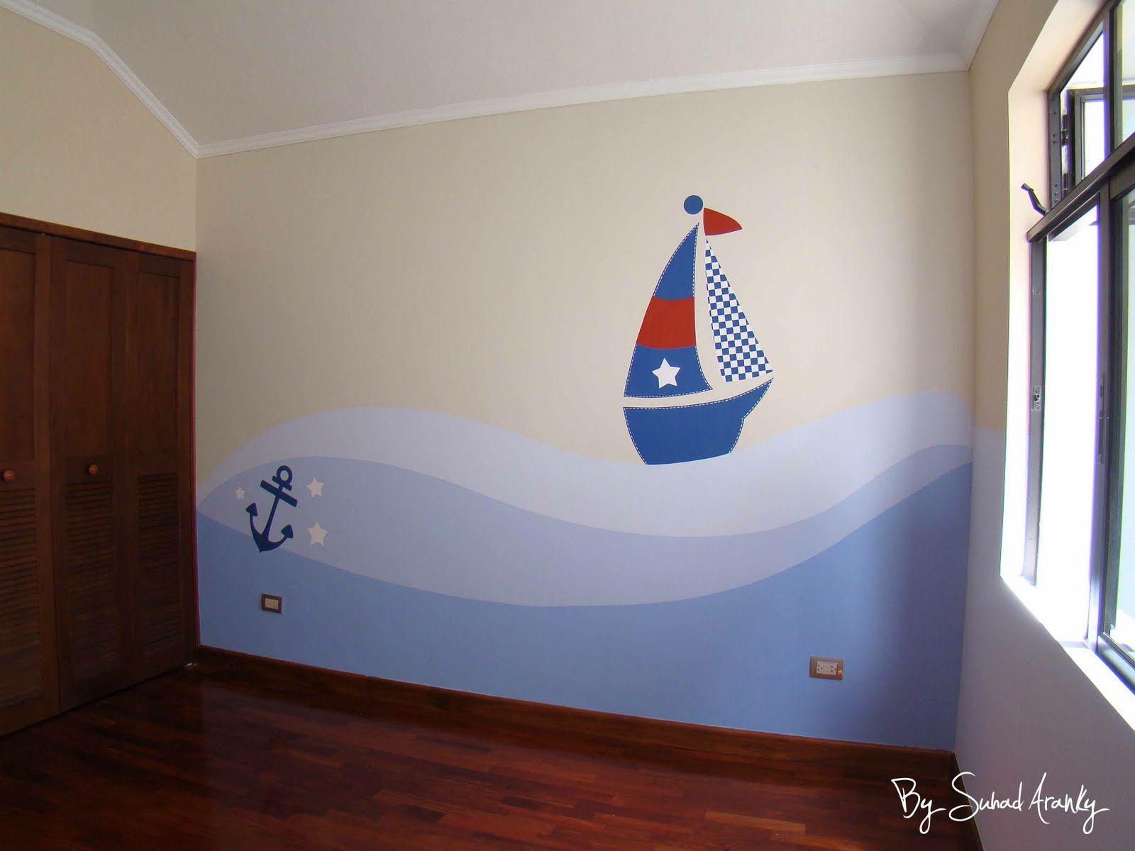 Murales en dormitorios cuarto ni o barcos deco for Decoracion pared bebe nino