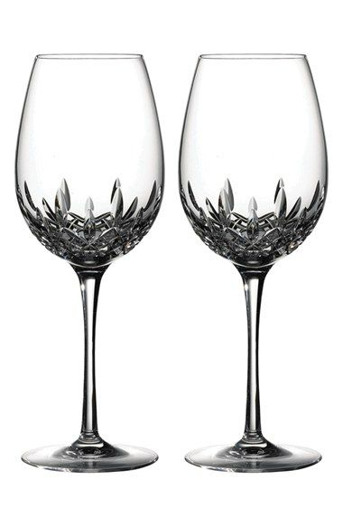 Waterford Lismore Essence Lead Crystal Red Wine Goblet Set Of 2