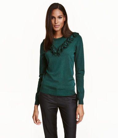 Fine-knit Sweater with Ruffle | Dark green | Ladies | H&M US
