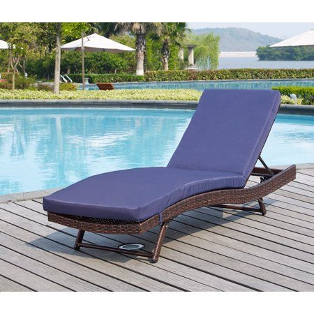 Fine South Beach Brown Wicker Rattan Sun Lounger Navy Cushions Ocoug Best Dining Table And Chair Ideas Images Ocougorg