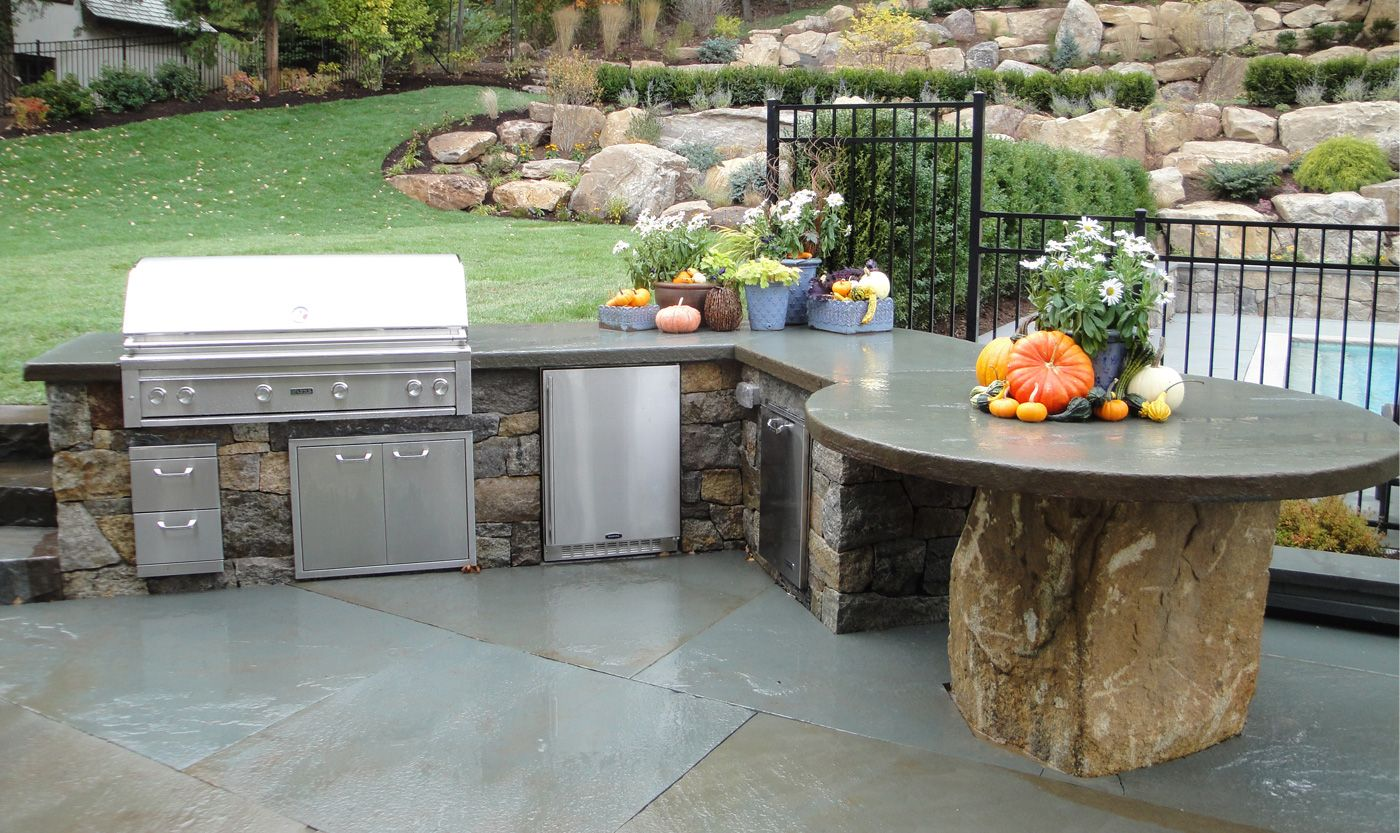 Sensational Outdoor Barbecue Kitchen Designs With Diy Concrete Countertops  Outdoor Kitchen And Natural Stone Slabs For Patio Flooring From DIY Outdoor  ...