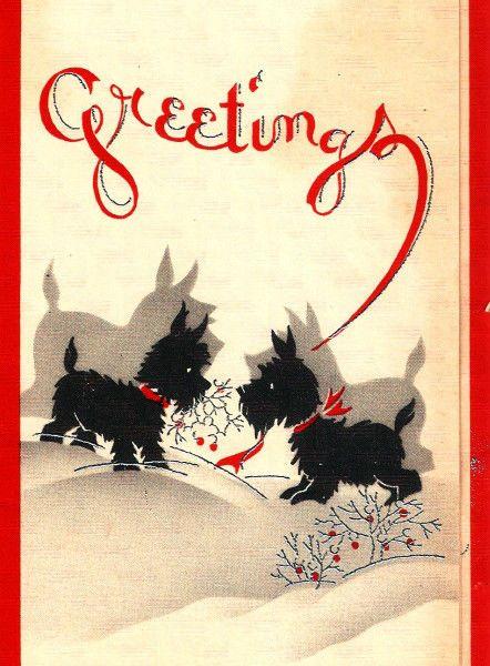 Vintage Christmas Card Art Deco Scottie Dogs Greetings