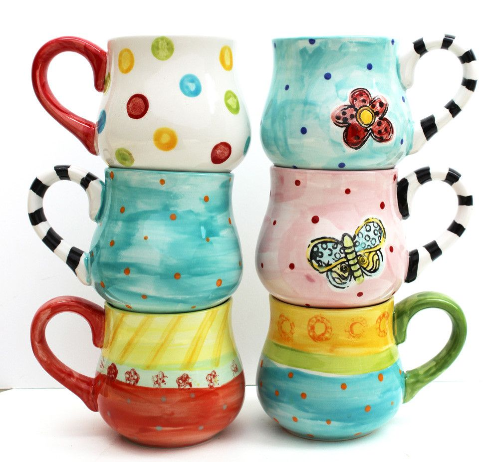 Hand painted ceramic mug mix and match pottery stuff i for How to paint ceramic mugs at home