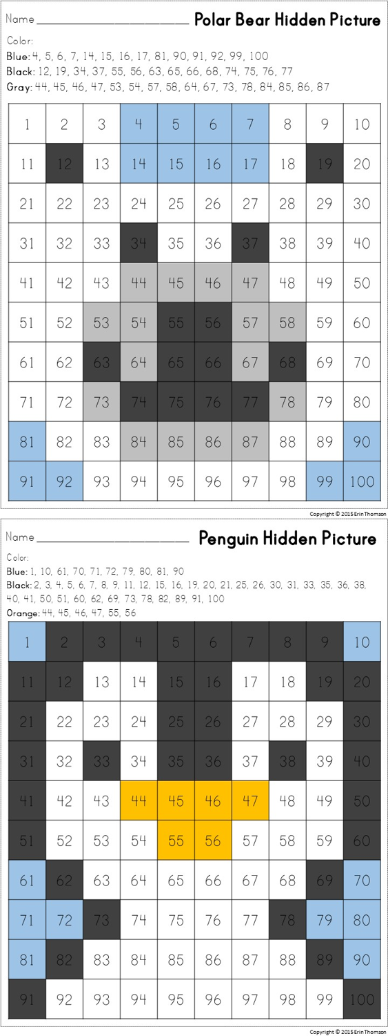 FREE Hidden Pictures in a 100\'s Chart ~ Polar Bear and Penguin ...