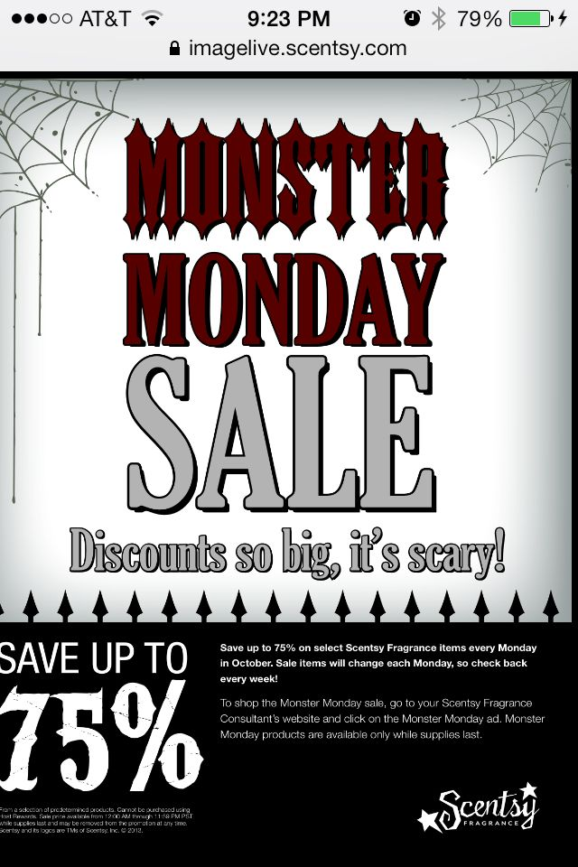 65062908514b Scentsy's Monday Monster Sale Every Monday in October Scentsy is ...