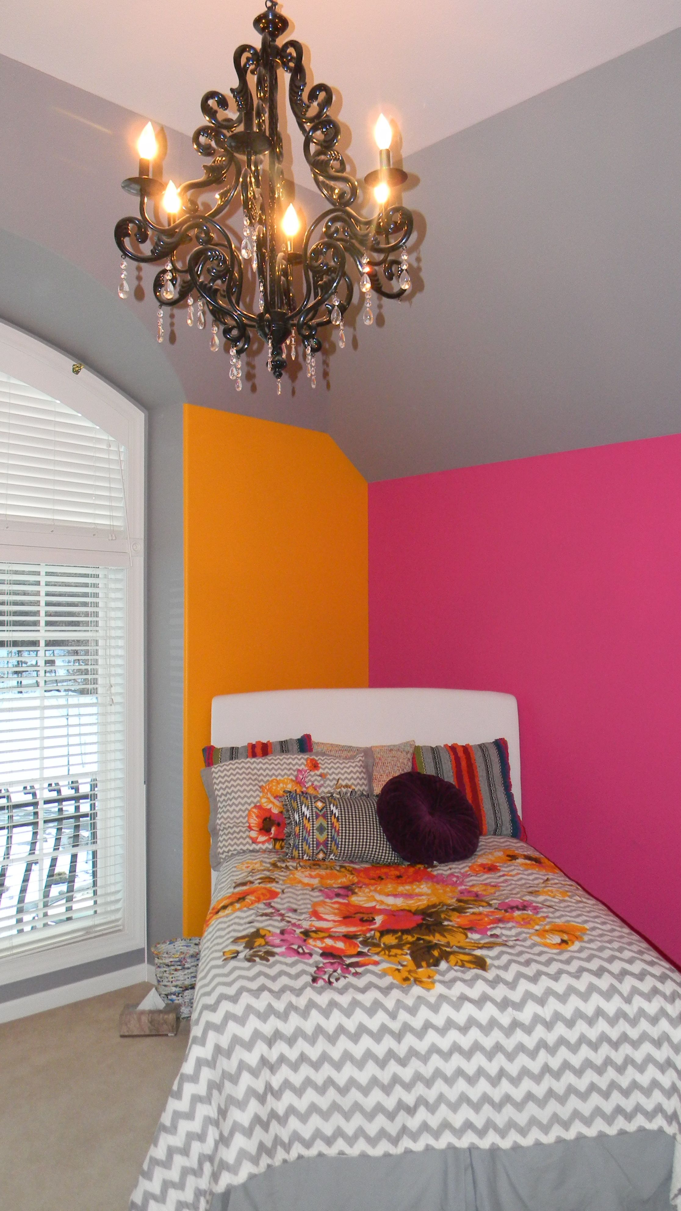 Girls bedroom painted grey orange & hot pink Painted by The