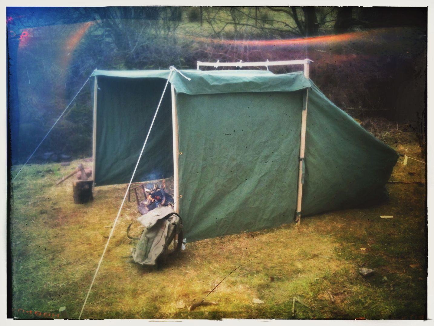 Canvas Baker Tent - traditional  C&fire tent  style - with both side wings out & Canvas Baker Tent - traditional