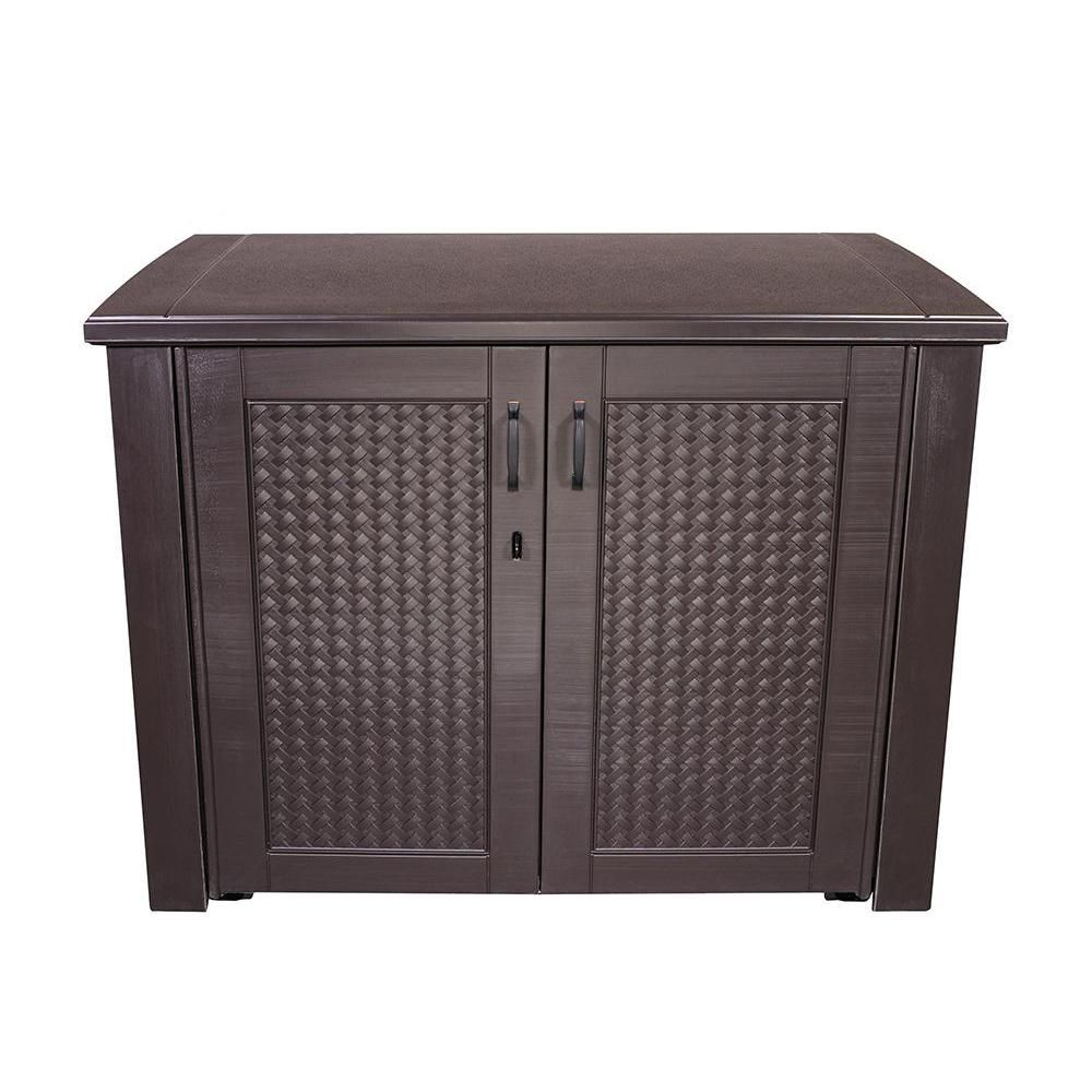 Rubbermaid Patio Chic 123 Gal Resin Basket Weave Cabinet In Brown 1889849 The Home Depot