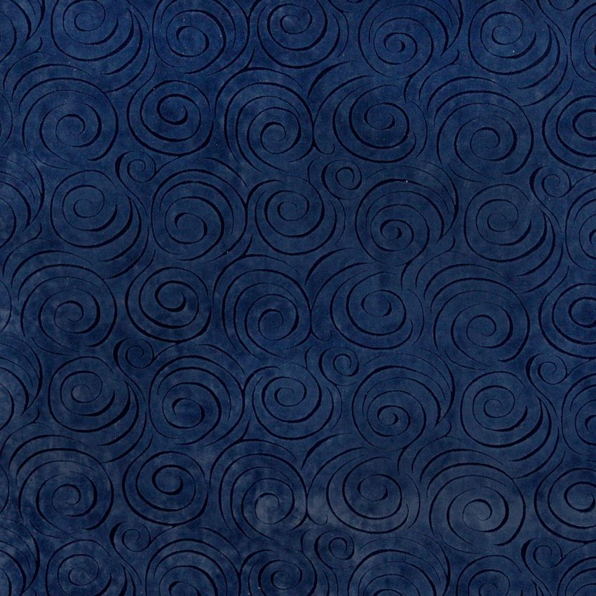 baltic blue decorative swirl microfiber velvet upholstery fabric