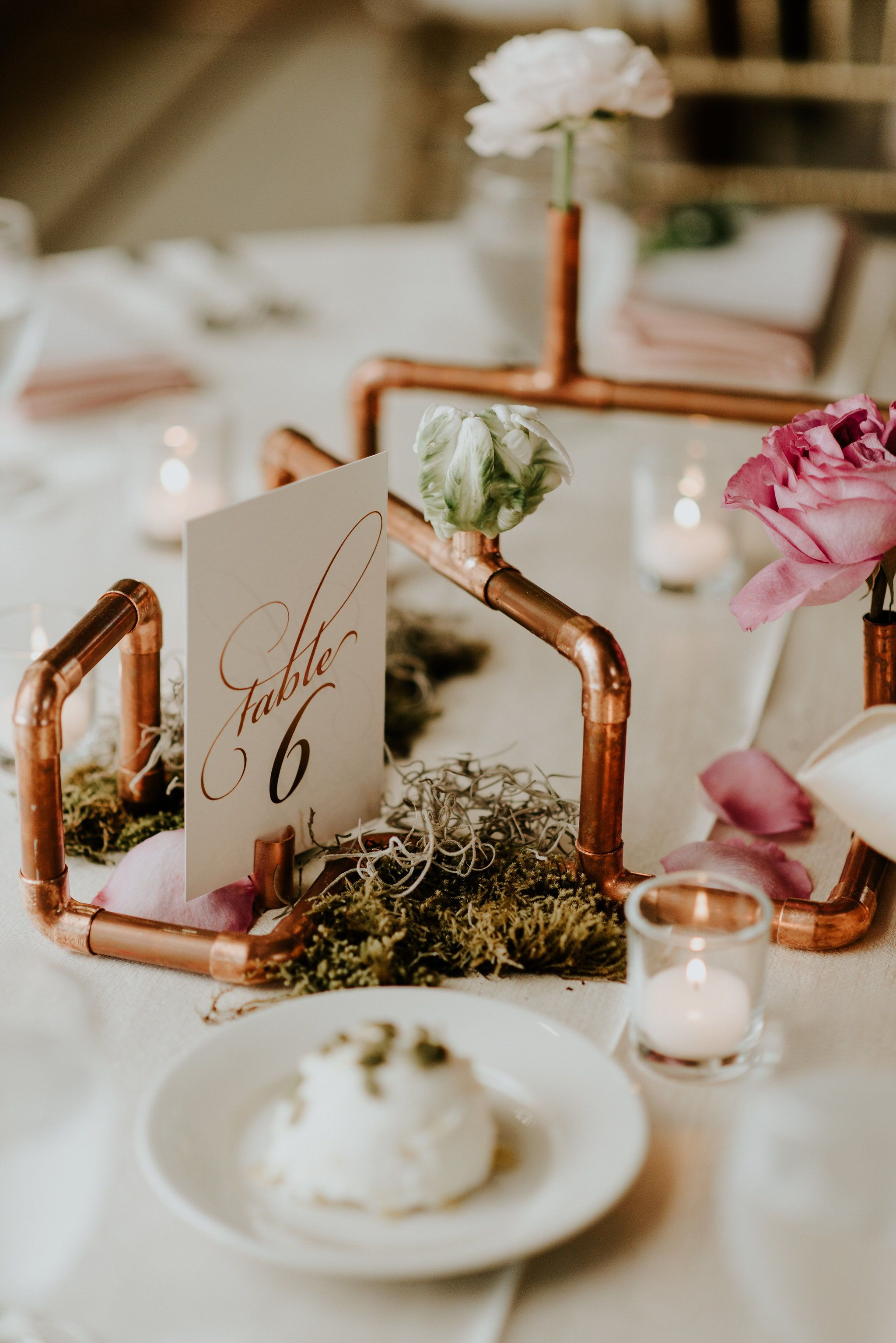 Copper Piping Reception Details Copper Wedding Decor Copper Wedding Copper Wedding Accents