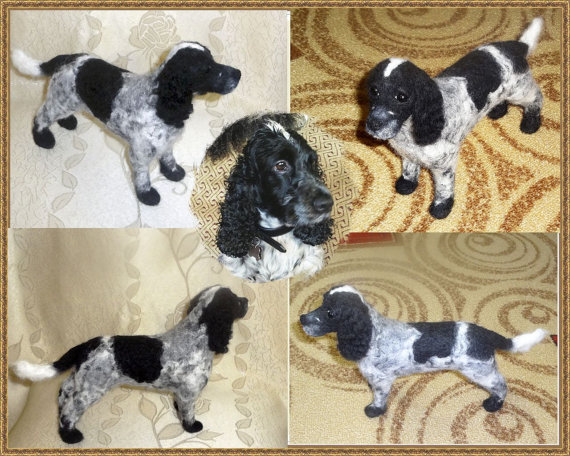 Needle Felted Custom Sculpture 3d Portrait Spaniel Dog Breed 8