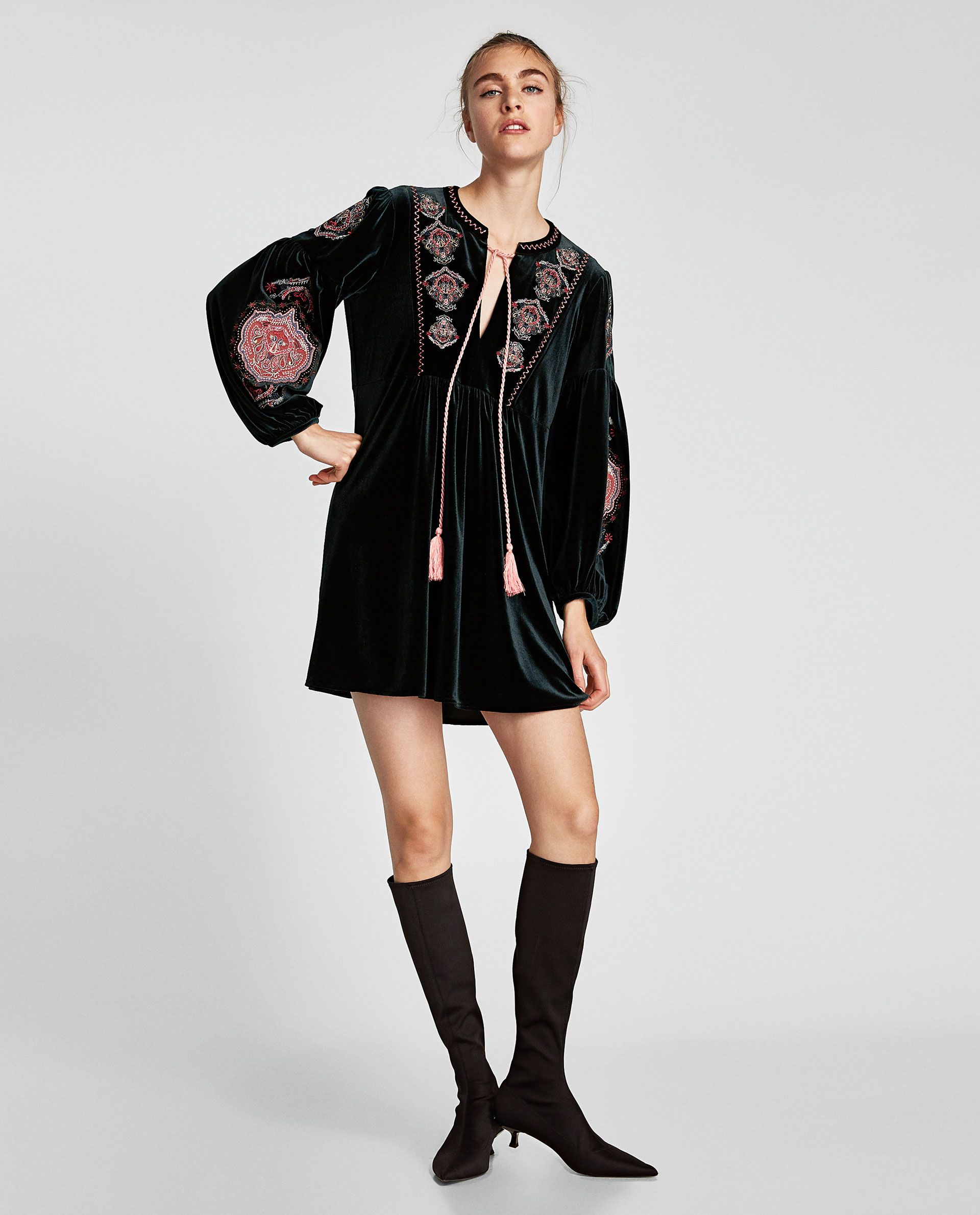 343f2aabf2 EMBROIDERED VELVET DRESS-NEW IN-WOMAN | ZARA Guatemala | CUTE ...
