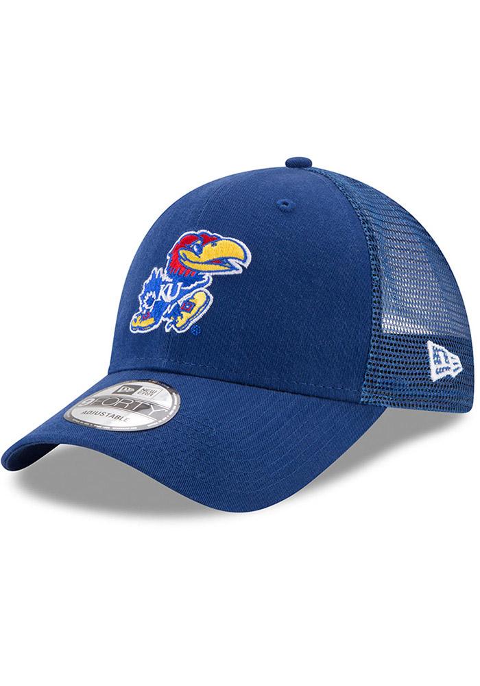 reputable site 63b40 f462d New Era Kansas Jayhawks Blue Trucker Washed 9FORTY Kids Adjustable Hat, Blue,  COTTON,