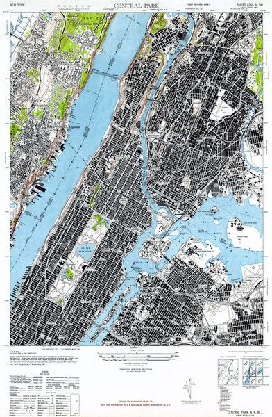 Map of Manhattan, NY 1947 | Wallegend