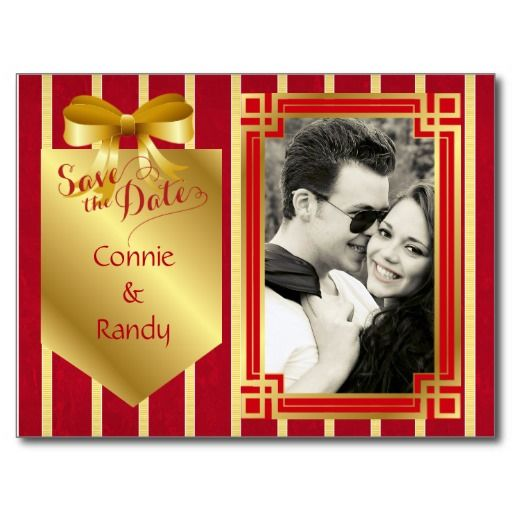 Elegant Red and Gold Photo Save the Date Post Cards