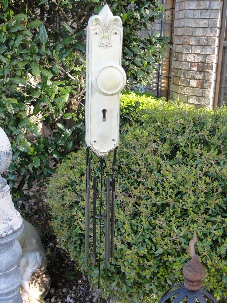 Windspiel aus einem Vintage Türgriff selber machen Garten - gartendekoration aus holz