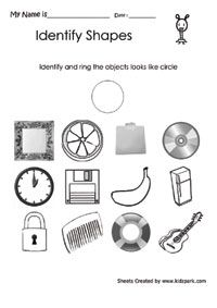 Worksheet To Identify The Circle Like Object,Matching Worksheets ...
