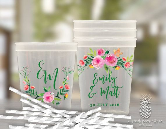 Wedding Party Cups Personalized Plastic