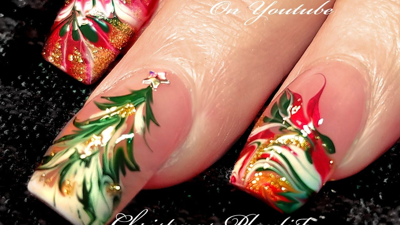 No Water Needed | 3 Different Christmas Drag Marble Nail Art Designs ...