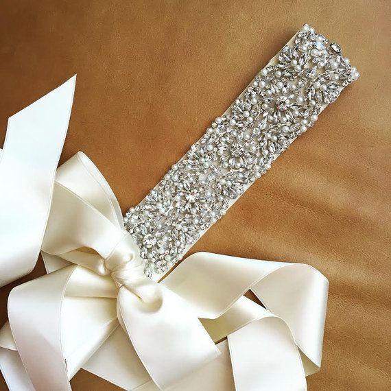 Pearl Wedding Sash  Prom Sash  ARKANSAS  BEST por bigrockbridal