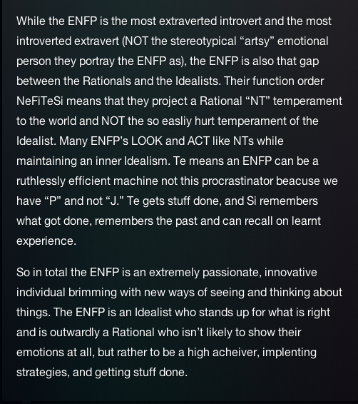 Yeah, that sounds about right  ENFP- Introverted Extrovert