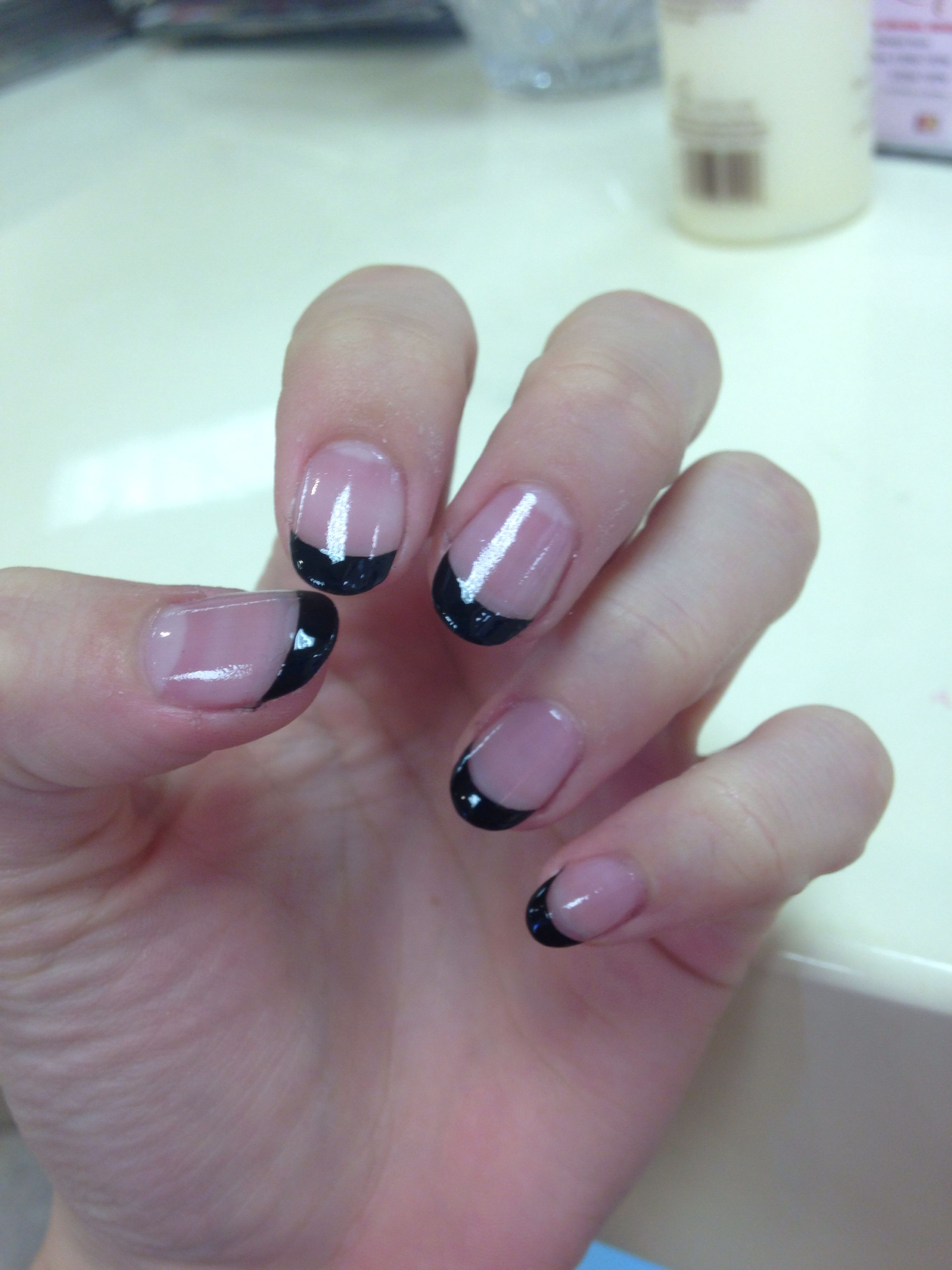 Black French tip rounded acrylics | Nails | Pinterest | Acrylics ...