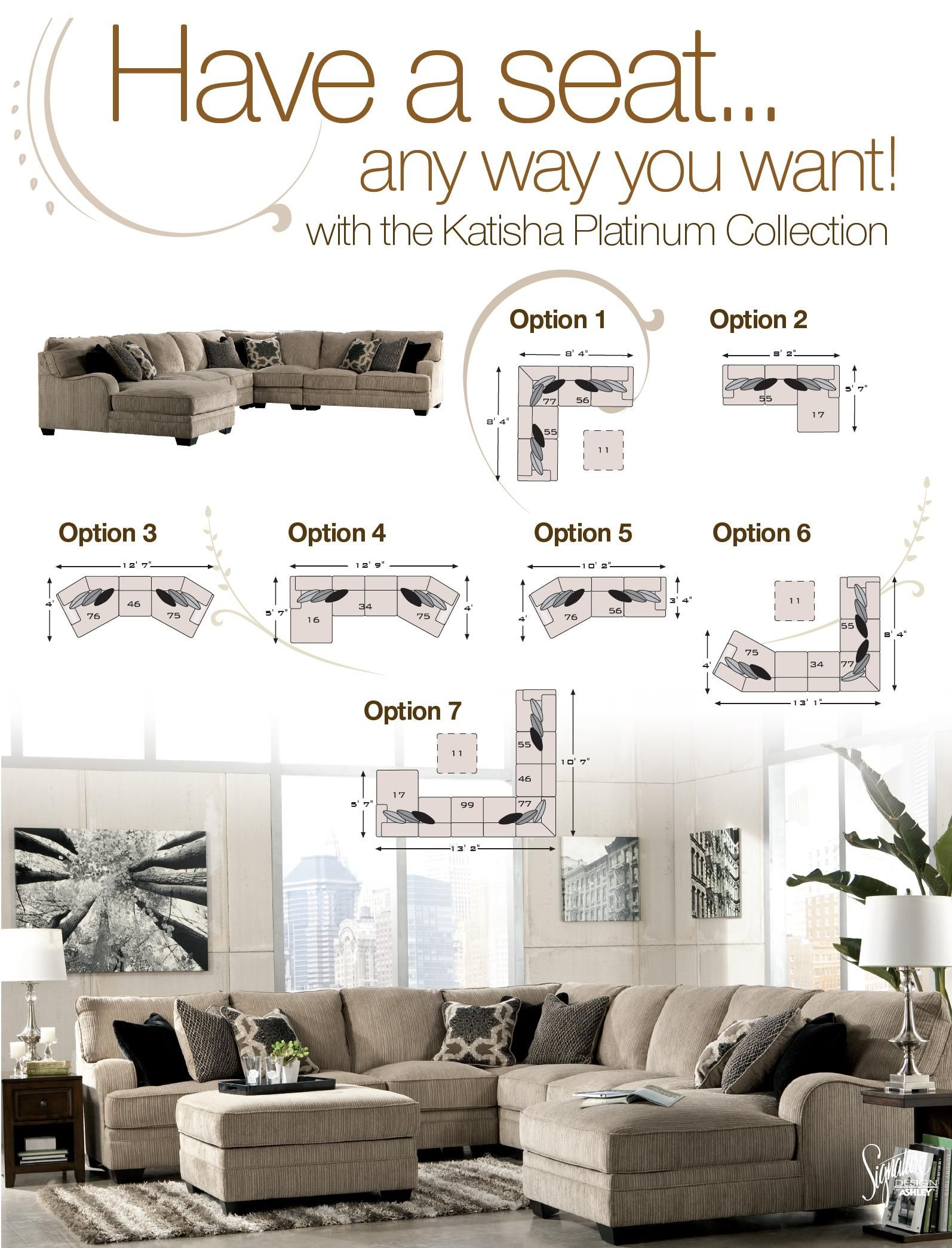 Signature Design by Ashley Katisha Platinum 5Piece Sectional Sofa