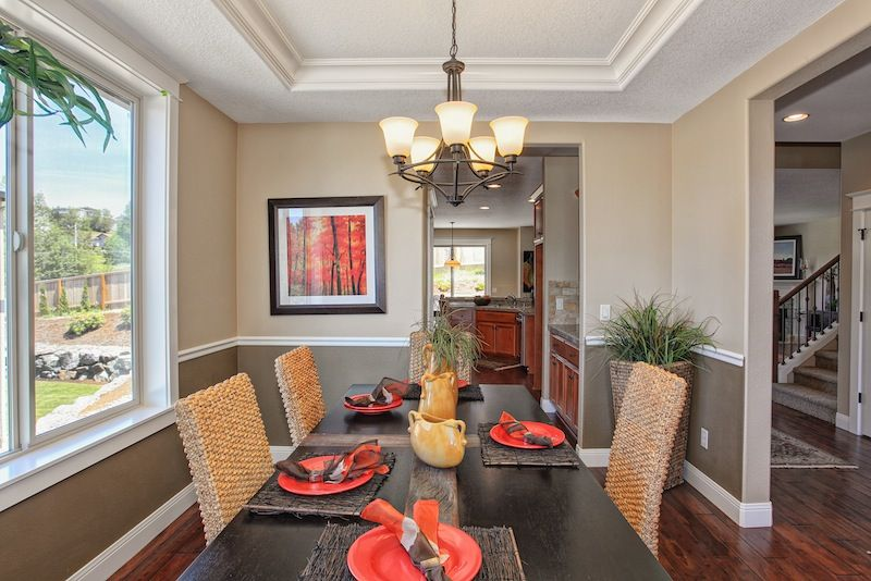Dining Room Two Tone Paint Ideas tray ceilings and two-tone paint on the walls adds a touch of