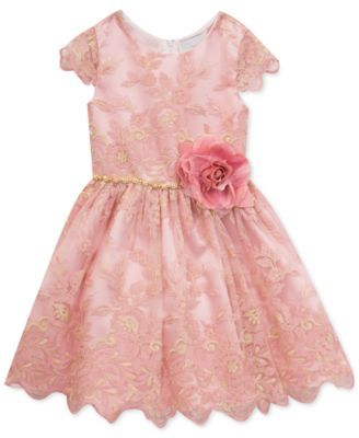 7a7cc4a86eddf Rare Editions Floral Embroidered Party Dress, Toddler Girls, Created for  Macy's