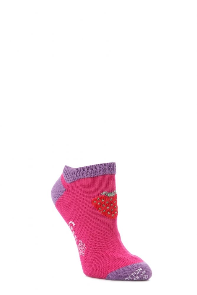 64f1fa313 Ladies 1 Pair Corgi 100% Cotton Strawberry Trainer Socks