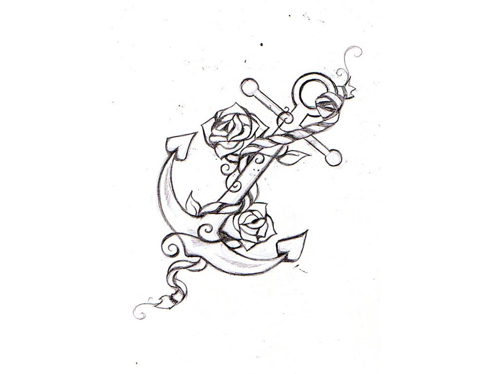 Tattoo drawing anchor cool images free designs anchor for Small art drawings