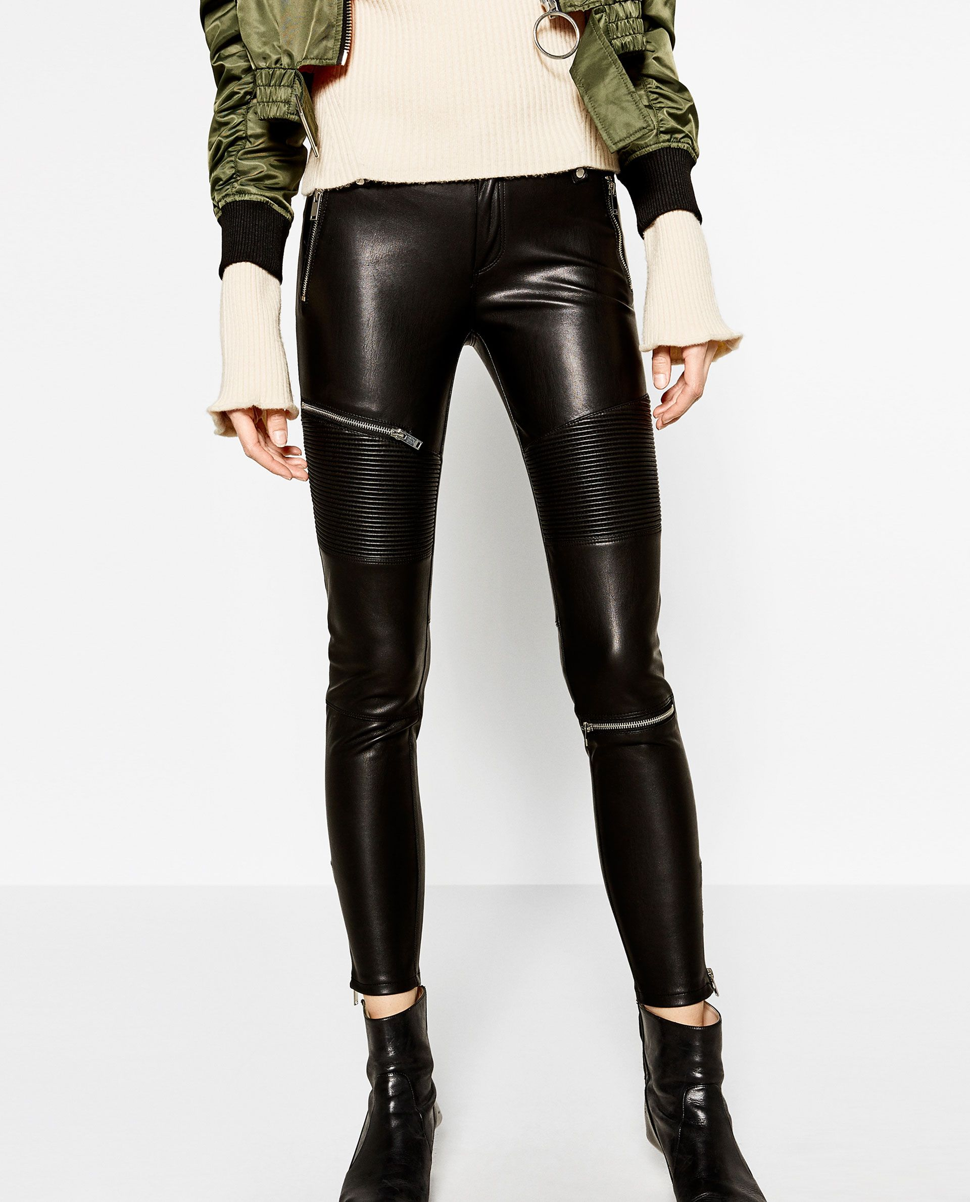 1c2a99a4 Image 2 of FAUX LEATHER BIKER TROUSERS from Zara | Fashion | Biker ...