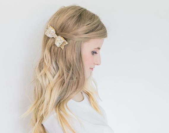Beautiful Medium Pale Gold Glitter fabric hair bow on Hair Clip - perfect for all!