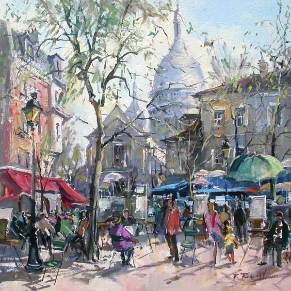 Louvre Winter 07 City Painting Watercolor Art