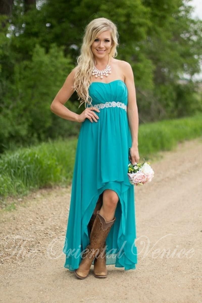 Click to Buy << 2017 Teal Turquoise Bridesmaid Dresses For Country ...