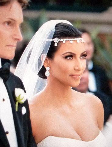 ilver Clear Round Rhinestone Kim Kardashian Inspired Floral Bridal Headband Headpiece and Earrings