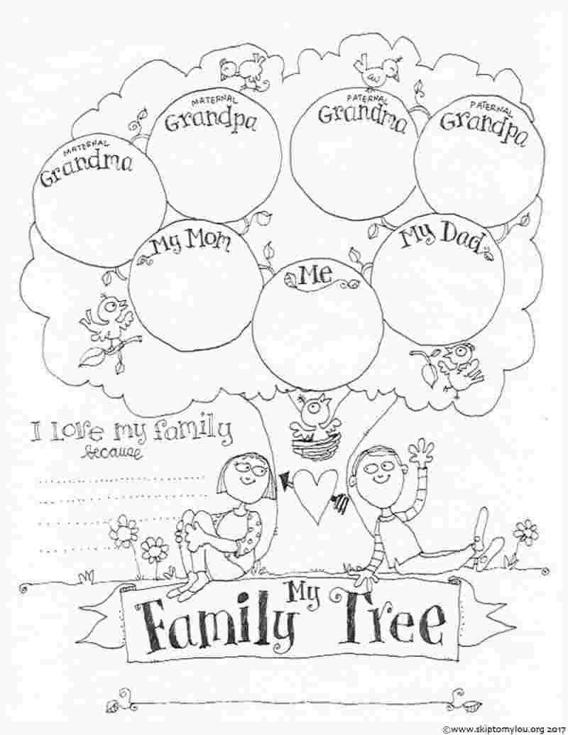 Family Coloring Pages For Kids Free Printable Coloring Pages Of Family Members Family Family Tree Worksheet Family Tree For Kids Tree Coloring Page