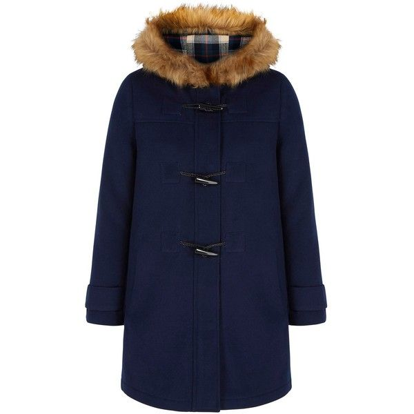 Yumi Faux Fur Hood Duffle Coat (€42) ❤ liked on Polyvore ...