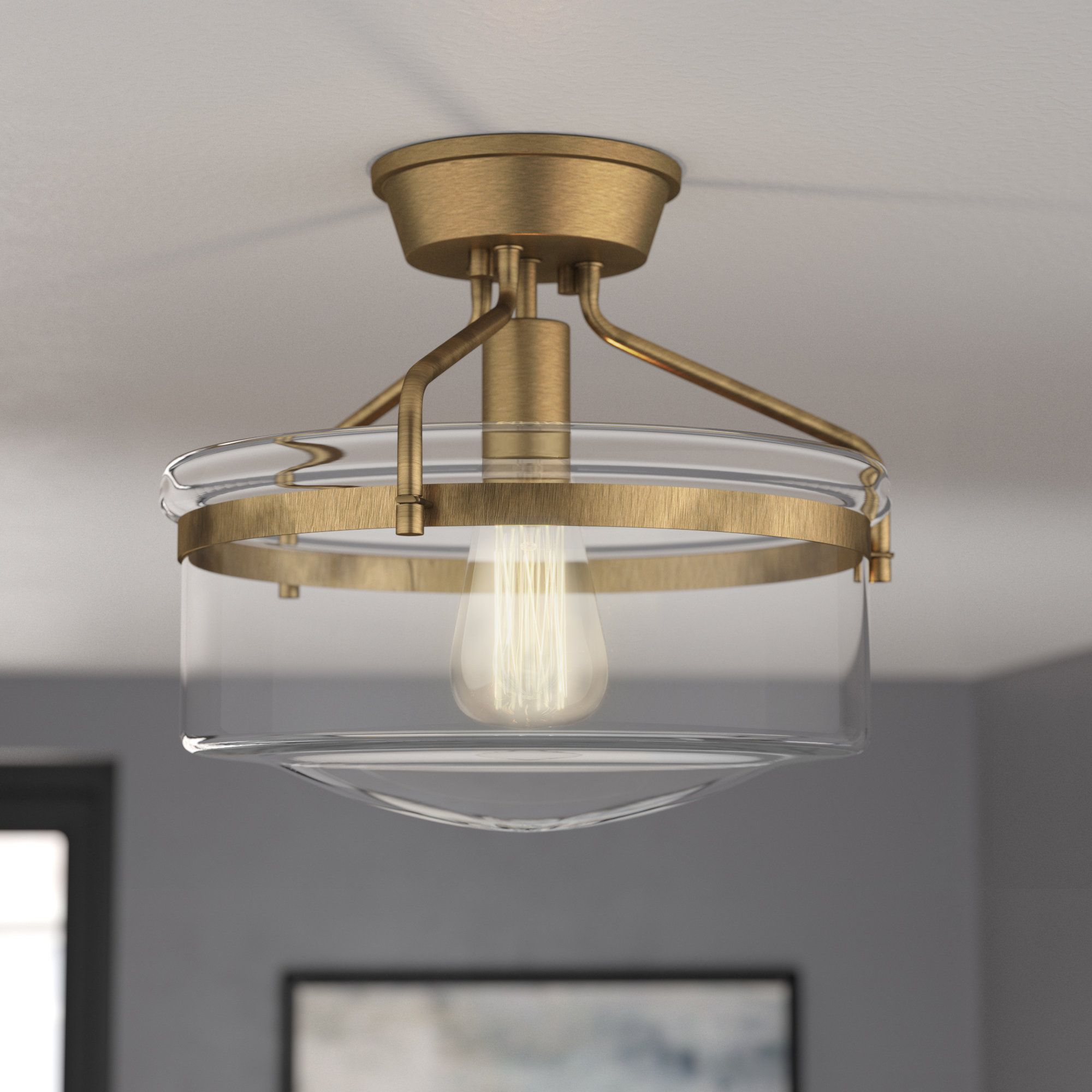 "Pollak 9-Light 93.9"" Simple Drum Semi Flush Mount  Living room"