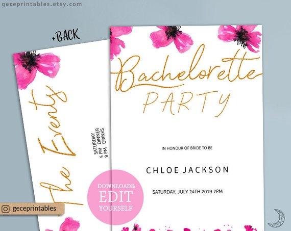 Bachelorette Invite Editable Invitation Hens Party Template Pink And Gold Bachelorett