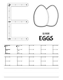 the letter e uppercase easter education letter worksheets for preschool letter e. Black Bedroom Furniture Sets. Home Design Ideas