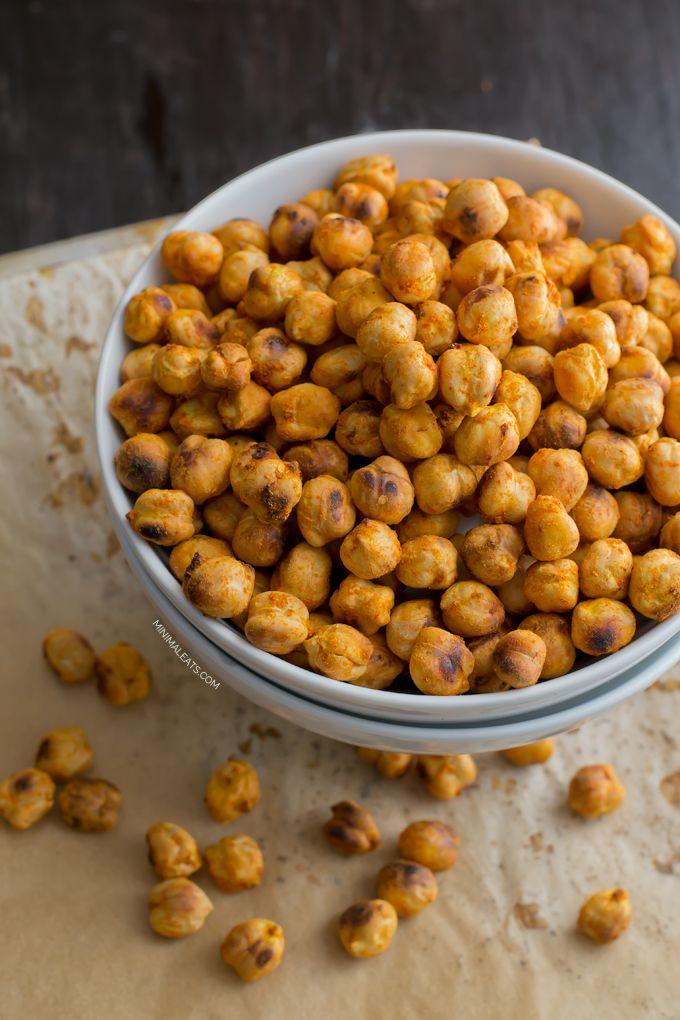Spicy Roasted Chickpea Snack   minimaleats.com