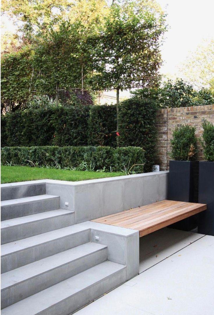 idée banc intégré à escalier terrasse. Espace rangement en ...