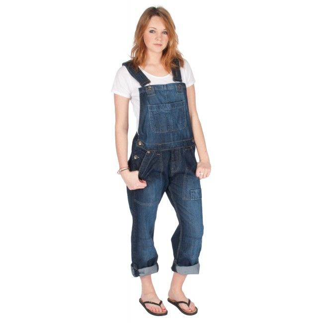 womens - relaxed fit bib overalls - dark wash   gifts for kathy