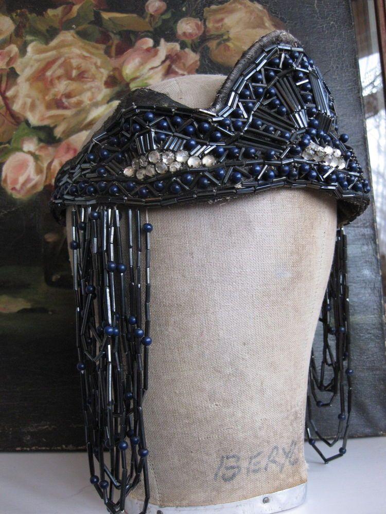 Antique Vintage Edwardian 1920 Beaded Original Flapper Showgirl Head dress