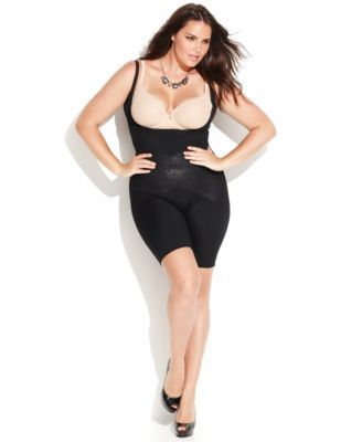 9acf86a2286 Star Power by SPANX Plus Size Firm Control Lady Luxe Open Bust Mid-Thigh  Body Shaper 2181P (Only at Macy s)