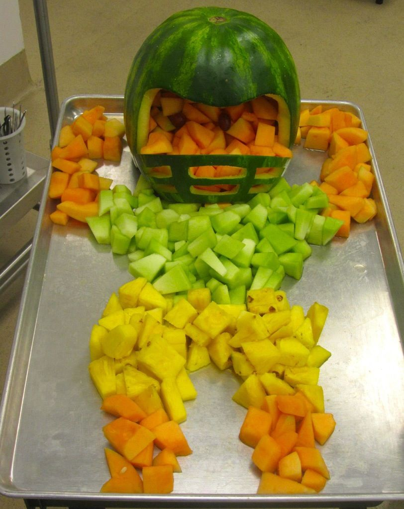 interesting ideas fruit bowl. Awesome fruit football player created by the creative Child Nutrition  professionals in Provo Utah